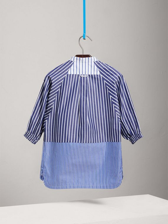 Contrasting Stripe Cotton Shirt Dress in Navy/white - Girl | Burberry - cell image 3