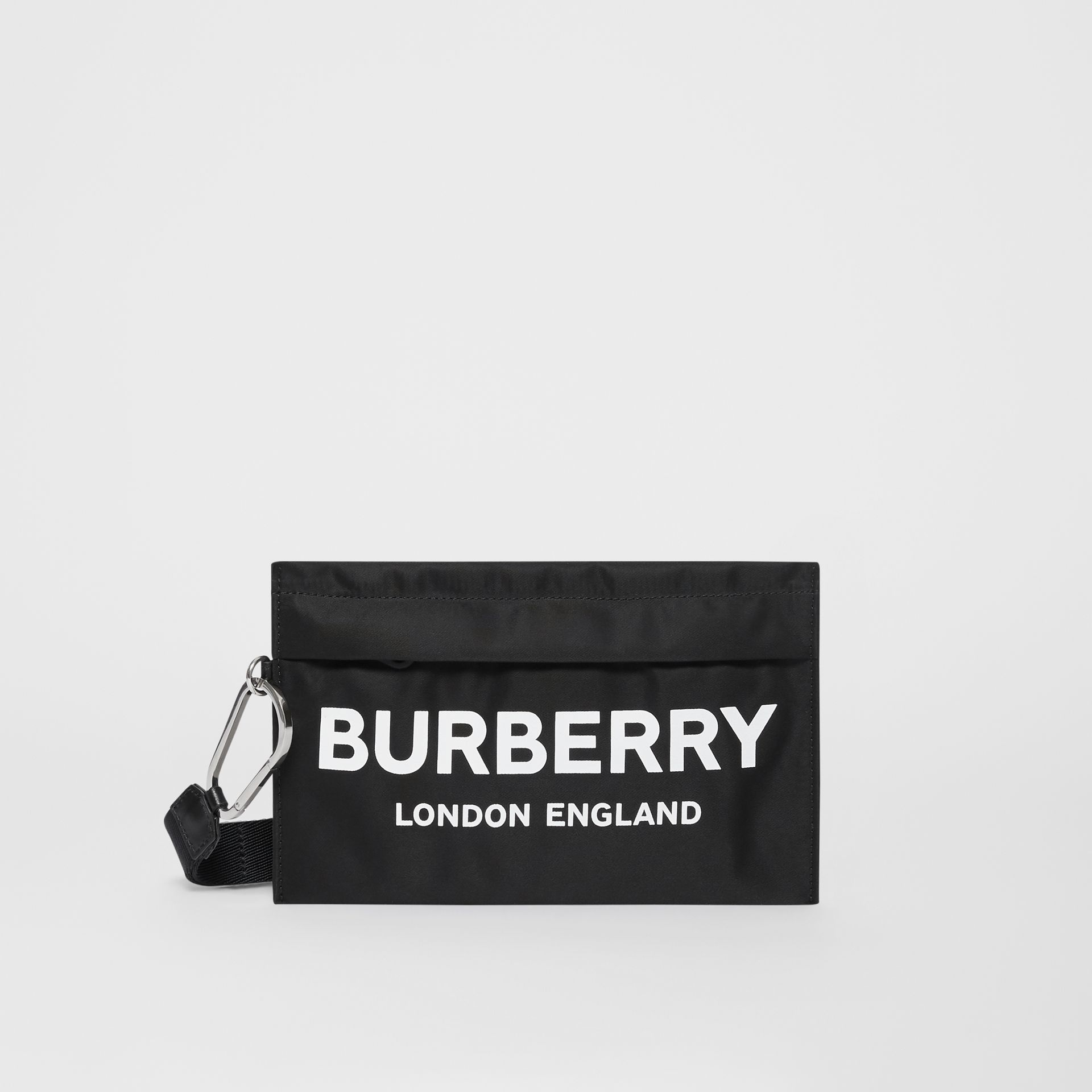 Logo Print Nylon Zip Pouch in Black - Women | Burberry United States - gallery image 0
