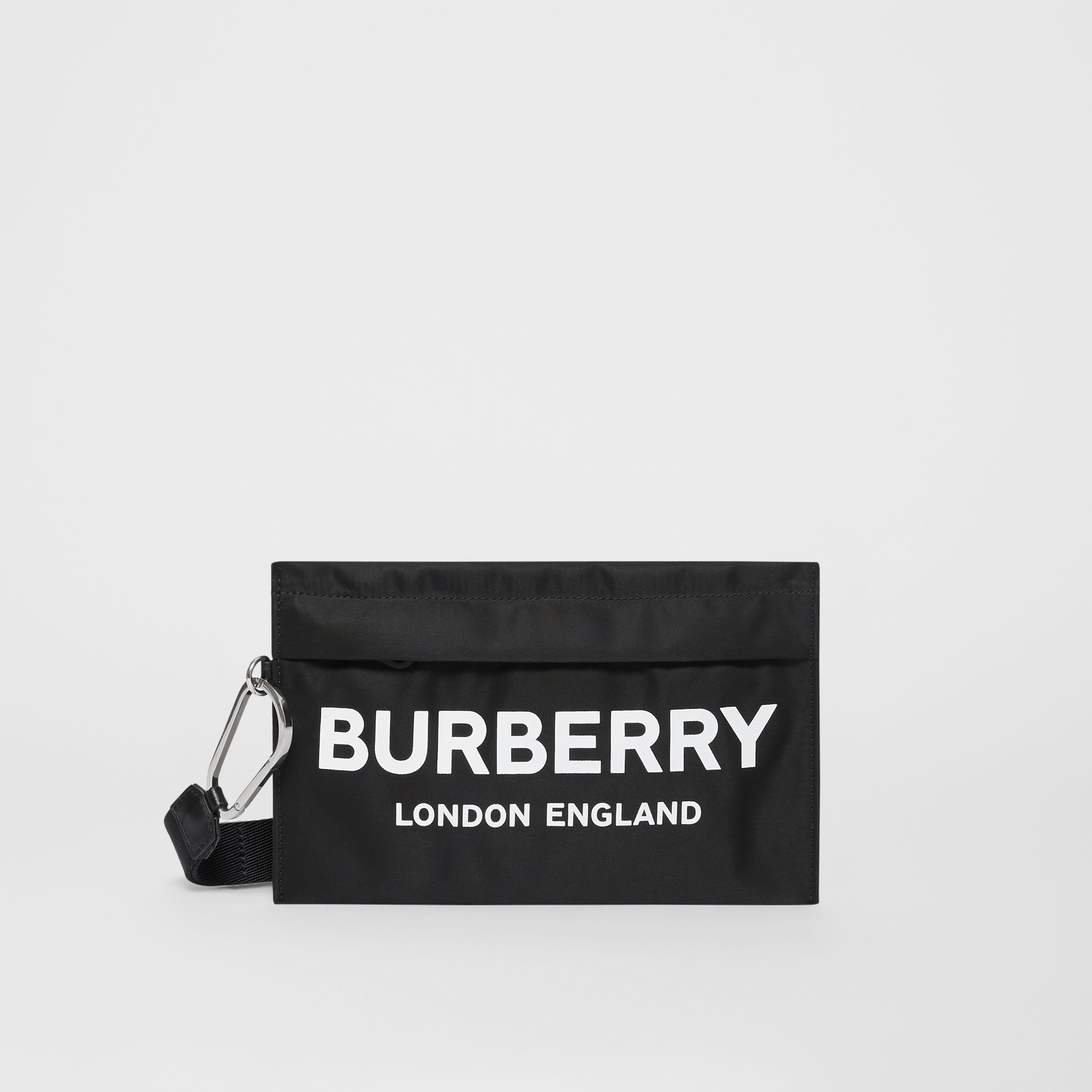 Logo Print Nylon Zip Pouch in Black - Women | Burberry - 1