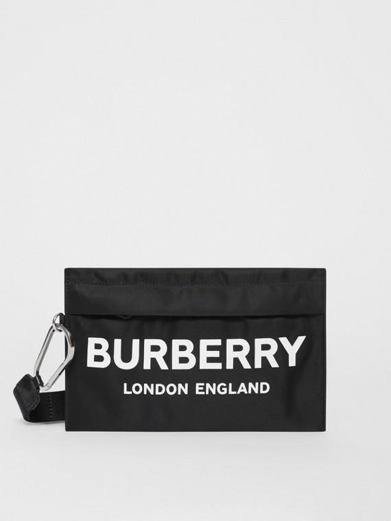 Pochette zippée en nylon avec logo (Noir)