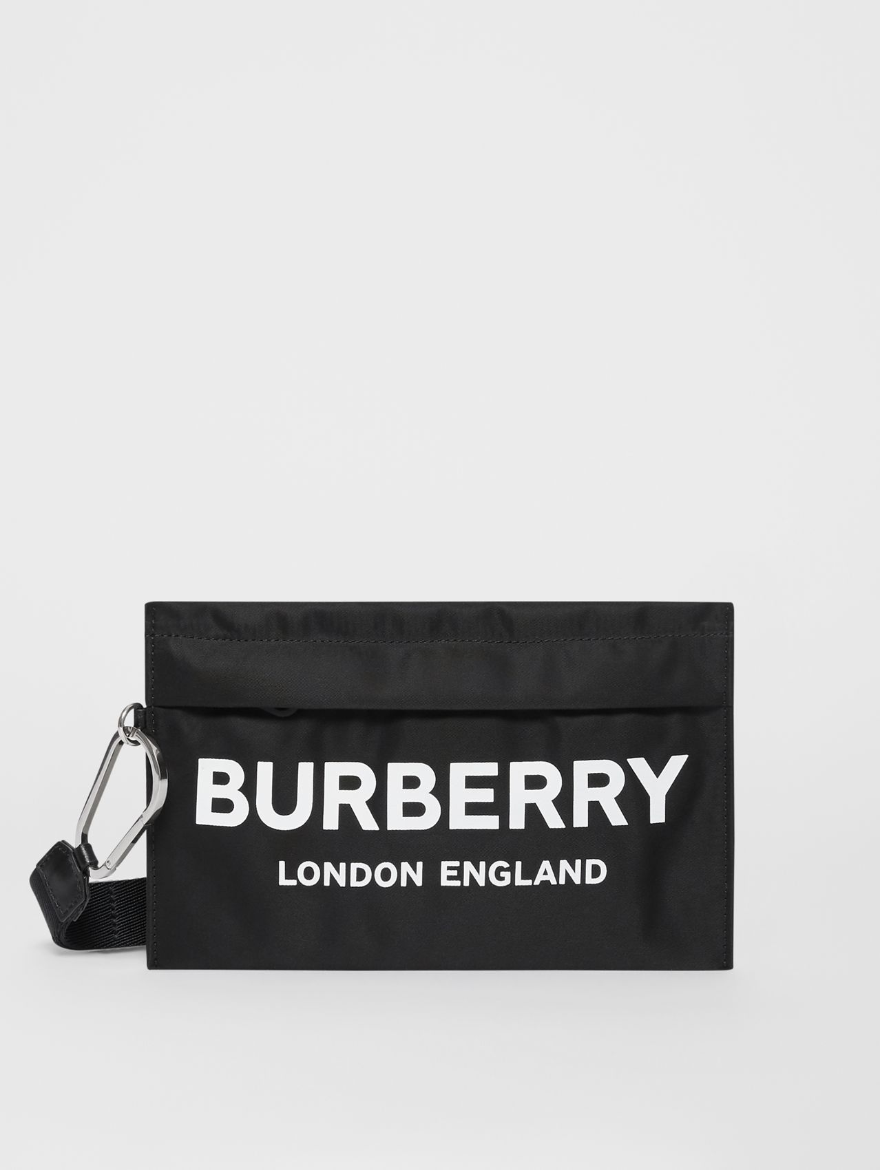 Logo Print Nylon Zip Pouch in Black