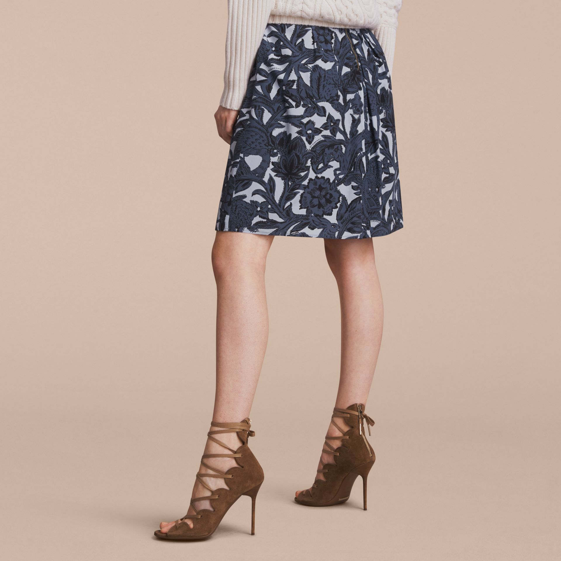 Beasts Print Silk Skirt in Stone Blue - Women | Burberry - gallery image 2