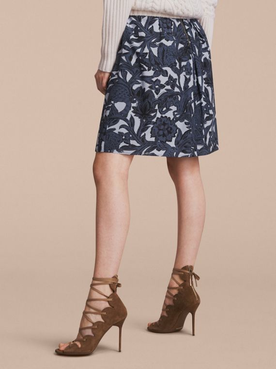 Beasts Print Silk Skirt in Stone Blue - Women | Burberry - cell image 2