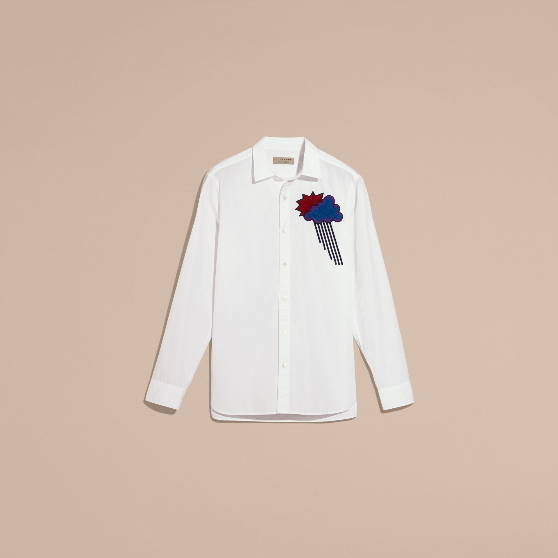 White Weather Appliqué Cotton Poplin Shirt - gallery image 4