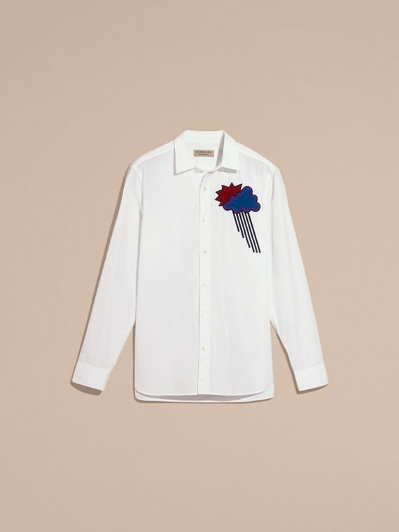 White Weather Appliqué Cotton Poplin Shirt - cell image 3
