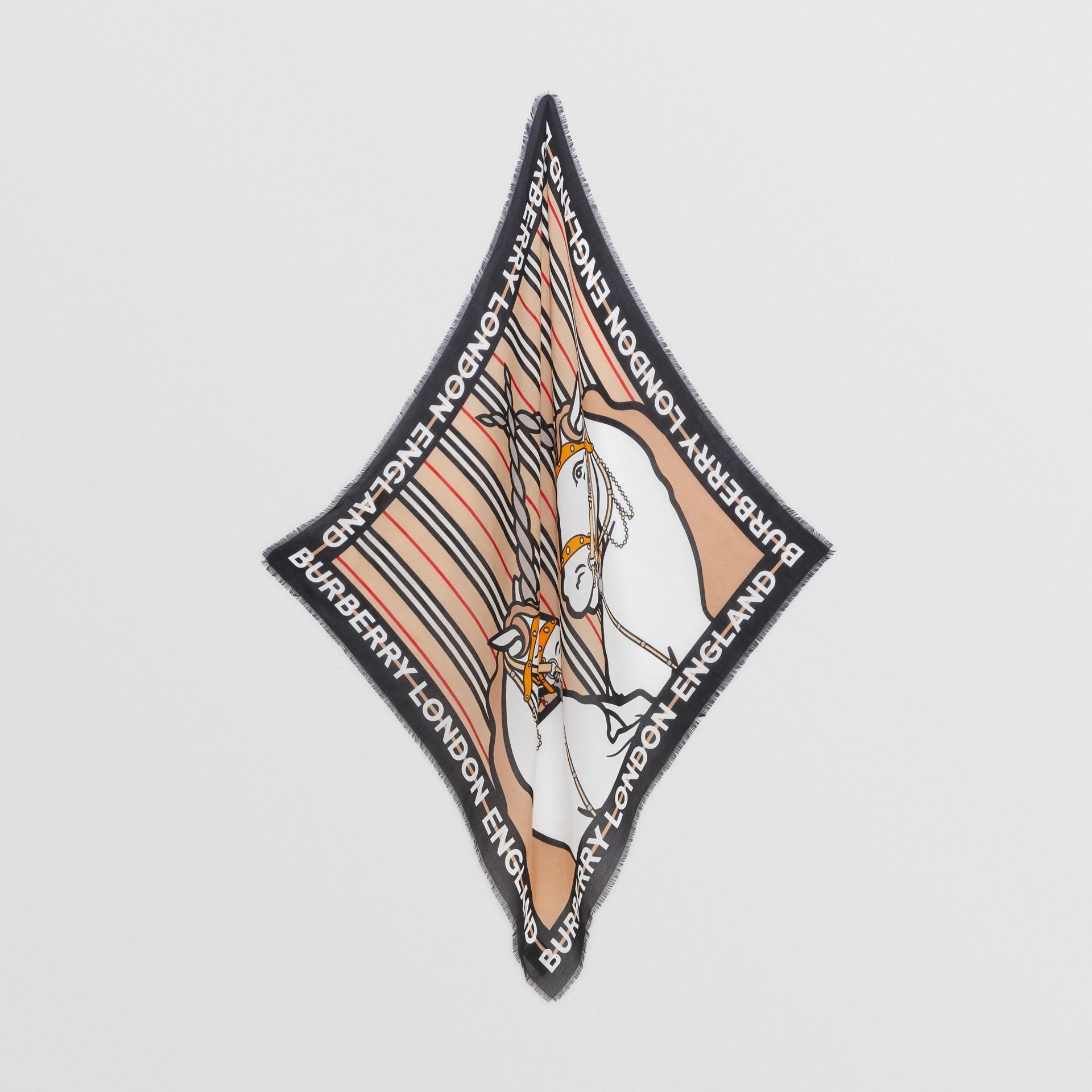 Unicorn Print Cotton Silk Square Scarf in Archive Beige - Children | Burberry United Kingdom - gallery image 2