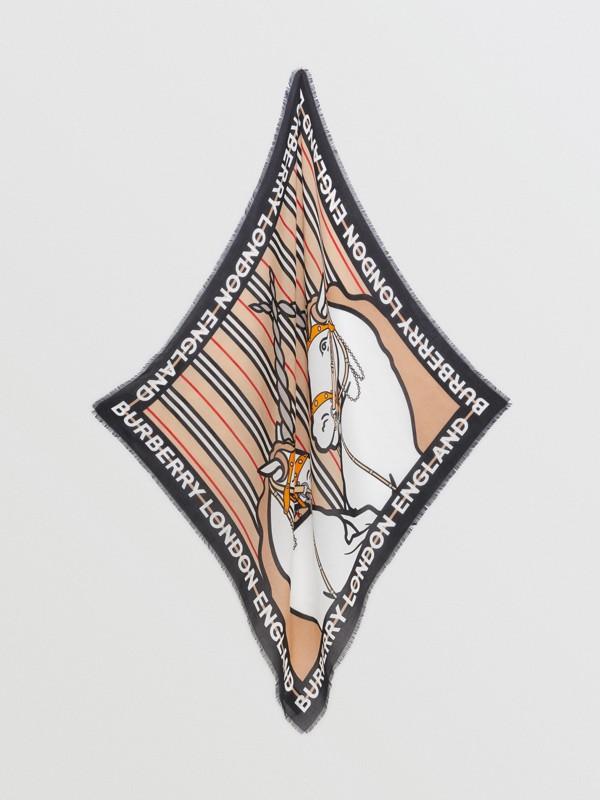 Unicorn Print Cotton Silk Square Scarf in Archive Beige - Children | Burberry United Kingdom - cell image 2