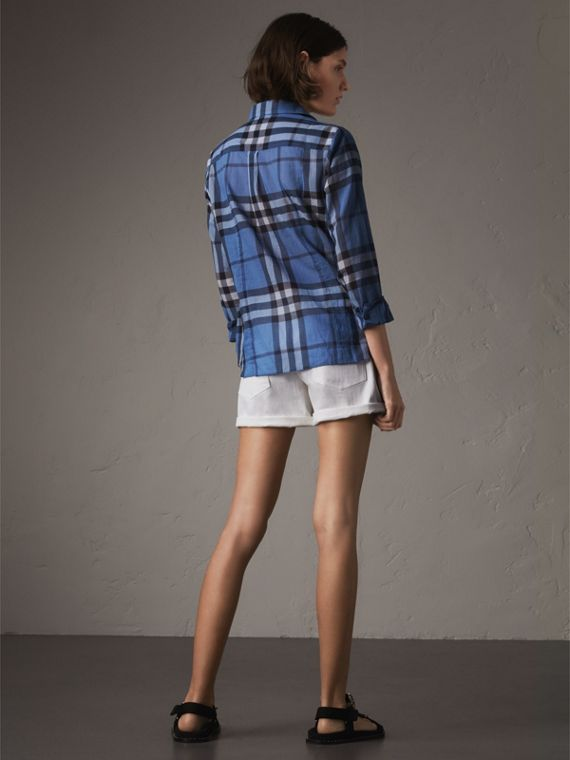 Check Cotton Shirt in Hydrangea Blue - Women | Burberry - cell image 2