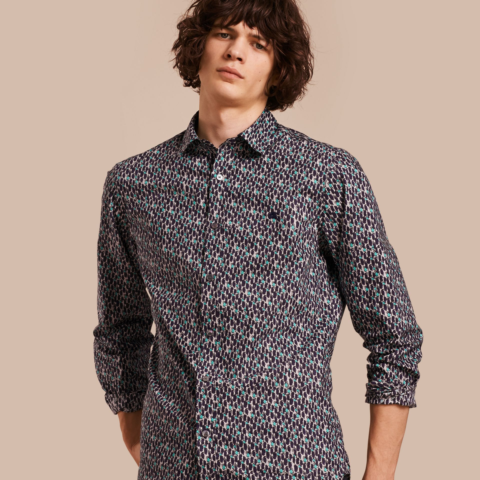 Bright navy Painterly Dash Print Cotton Shirt Bright Navy - gallery image 1