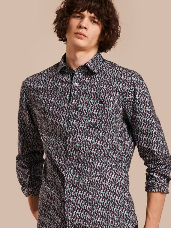 Painterly Dash Print Cotton Shirt Bright Navy