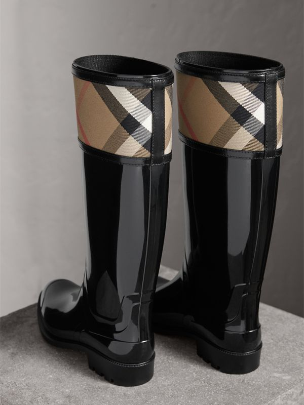 House Check Rain Boots in Black - Women | Burberry - cell image 3