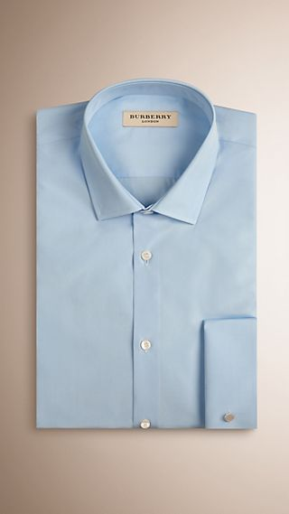 Slim Fit Double Cuff Cotton Poplin Shirt