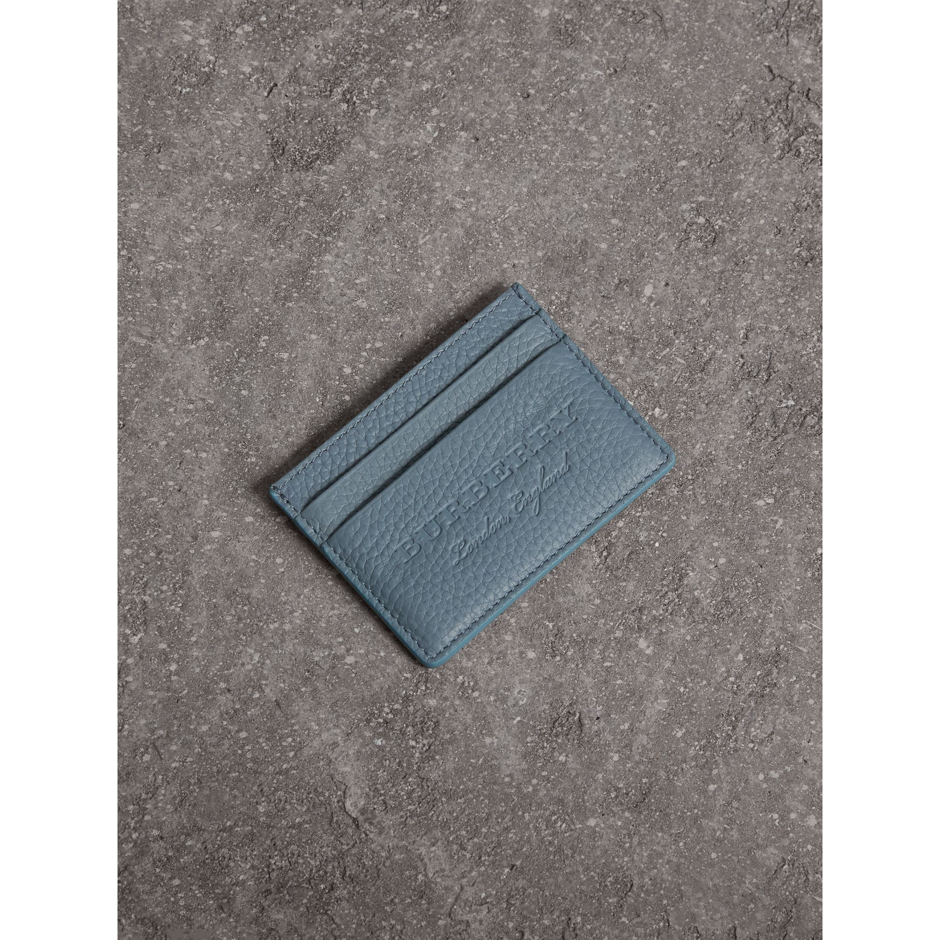 Embossed Textured Leather Card Case in Dusty Teal Blue - Women | Burberry - gallery image 0