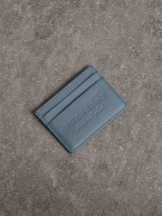 Embossed Textured Leather Card Case in Dusty Teal Blue