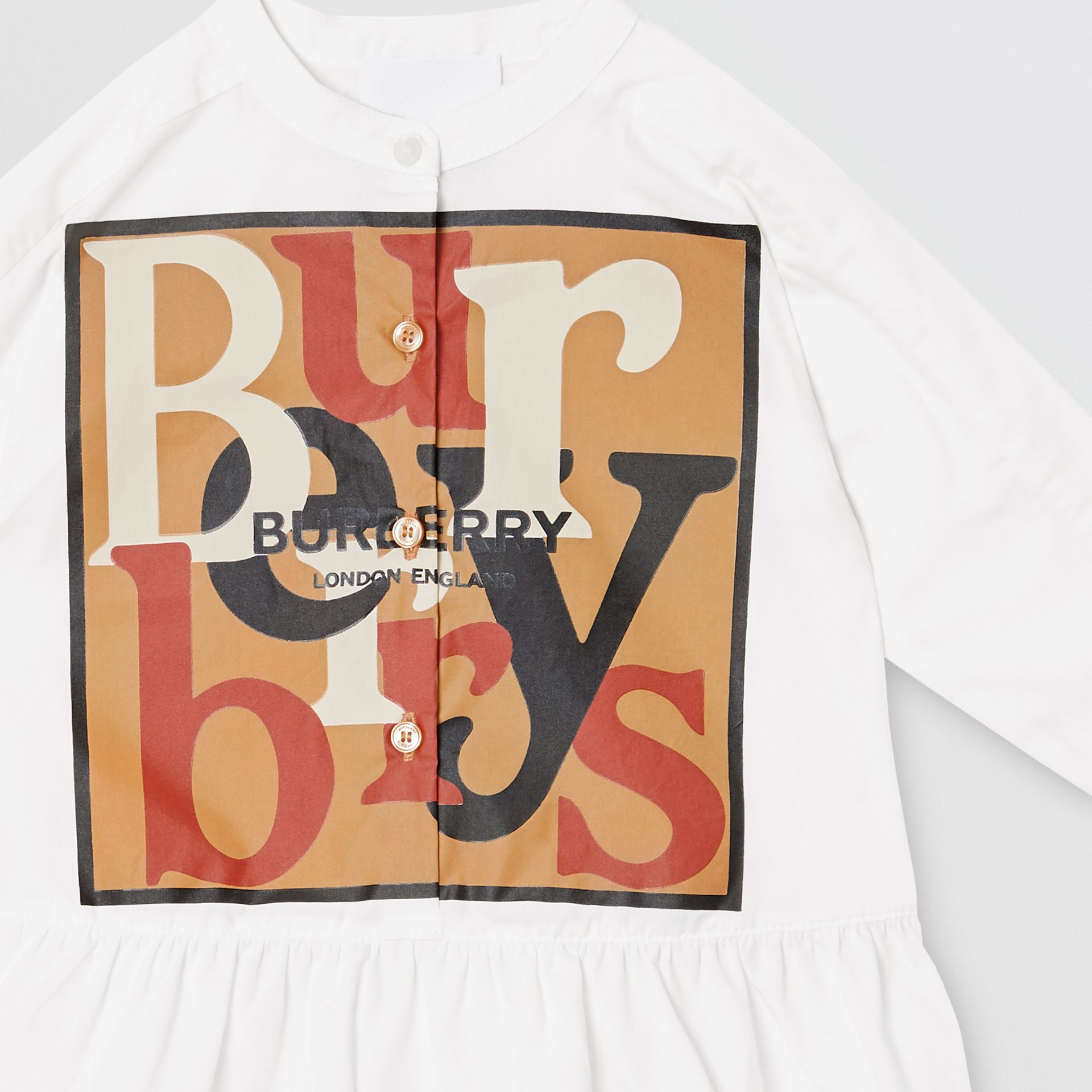 Logo and Archive Scarf Print Dress with Bloomers in Beige - Children | Burberry United Kingdom - gallery image 3