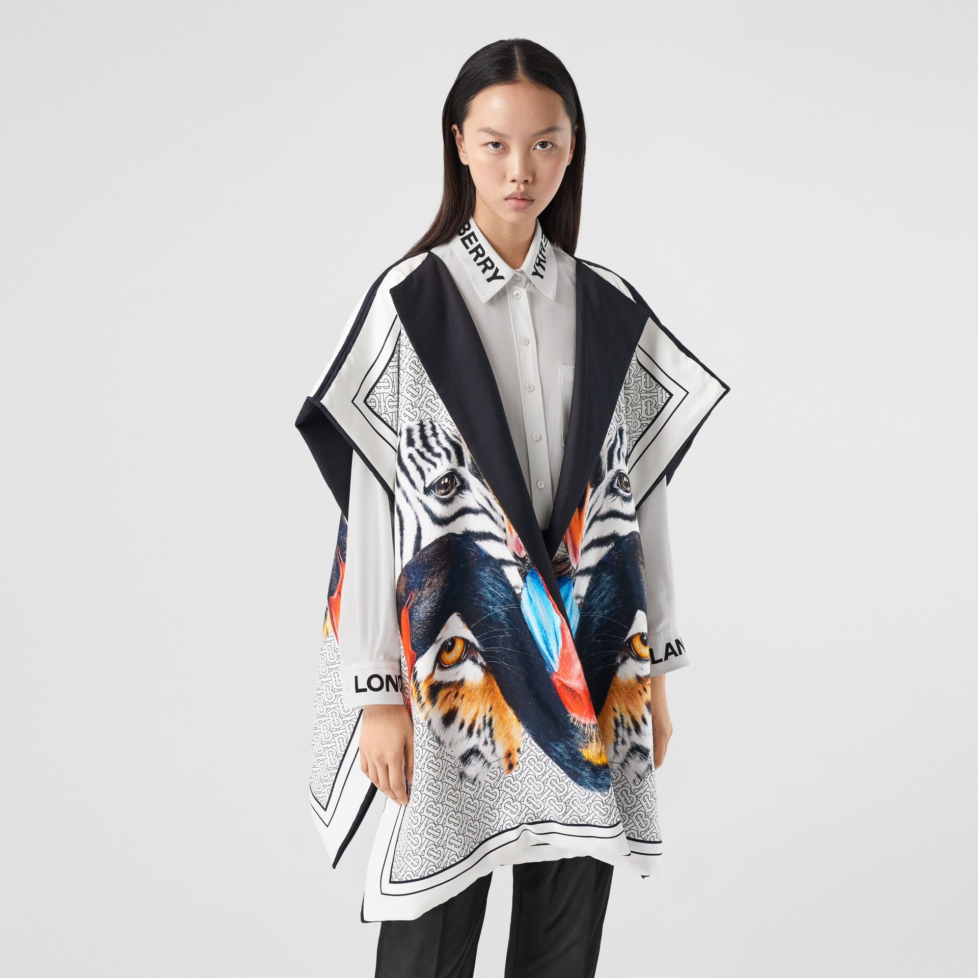 Animalia Print Silk Twill Cape in Multicolour - Women | Burberry United Kingdom - gallery image 7