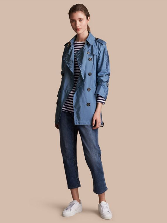 Packaway Ruffle Detail Showerproof Trench Coat Lupin Blue
