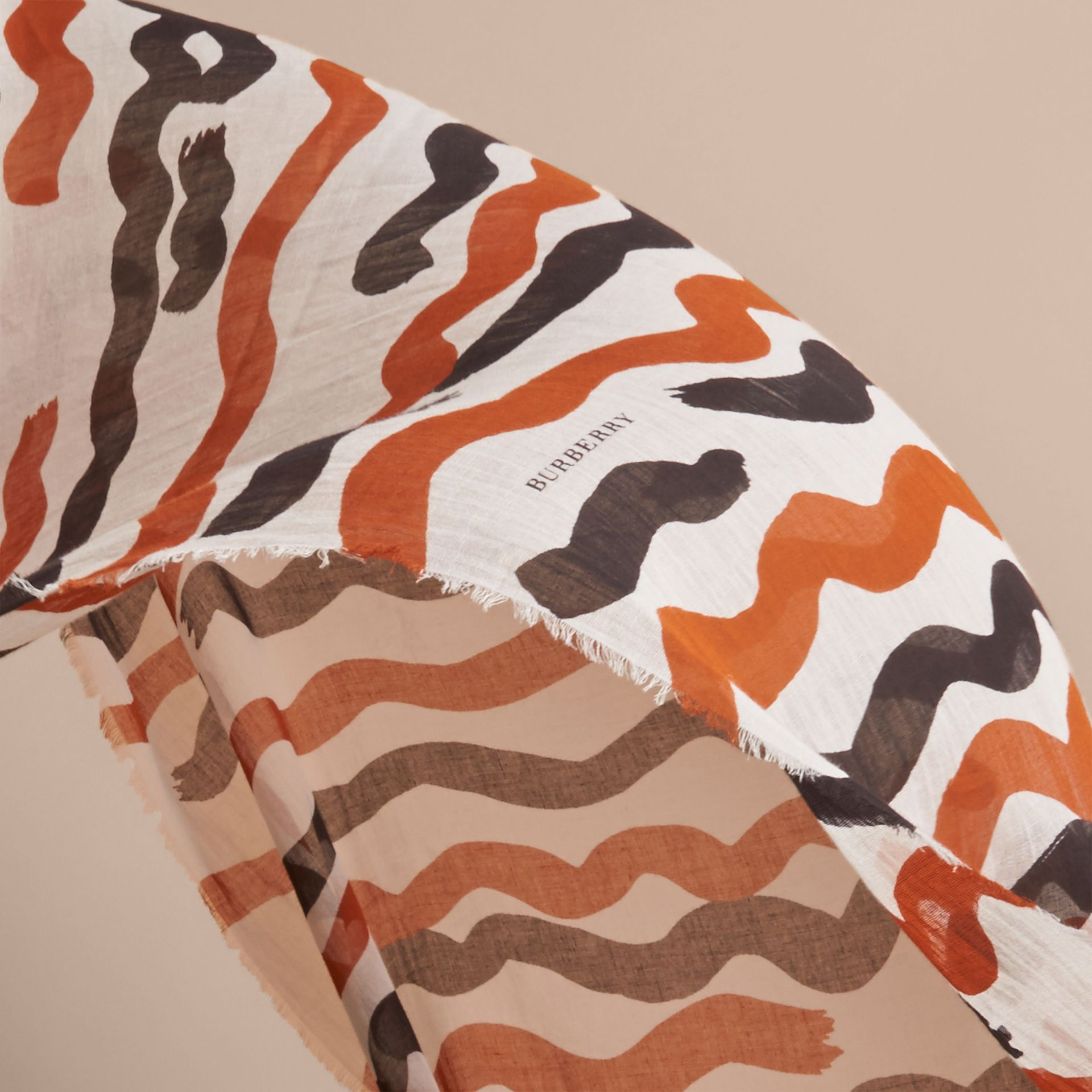 Waves Print Cotton Cashmere Scarf in Burnt Orange - gallery image 4