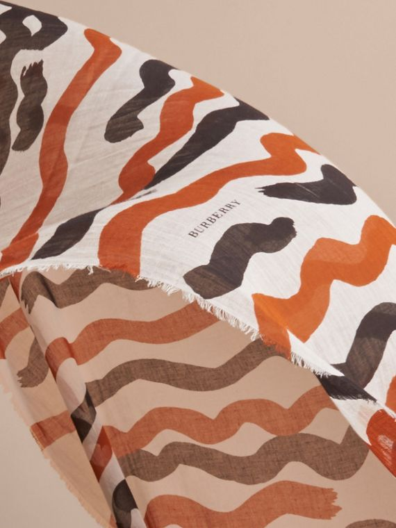 Waves Print Cotton Cashmere Scarf in Burnt Orange - cell image 3