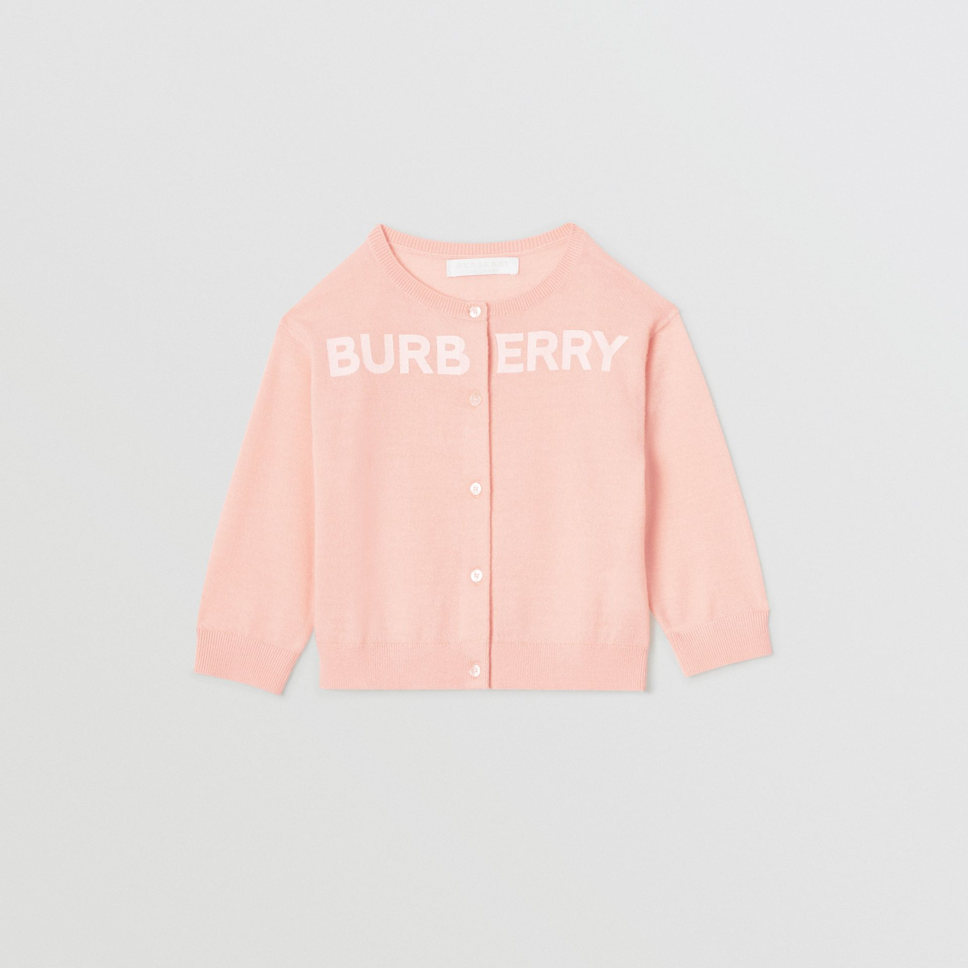 Logo Print Cashmere Two-piece Set in Pale Rose Pink - Children | Burberry - gallery image 0