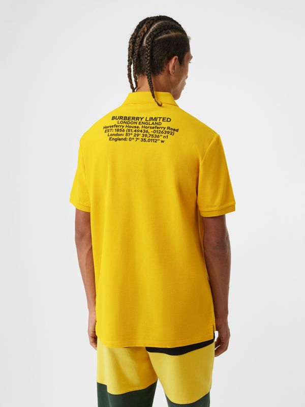 Location Print Cotton Piqué Oversized Polo Shirt in Canary Yellow - Men | Burberry Hong Kong S.A.R - cell image 2