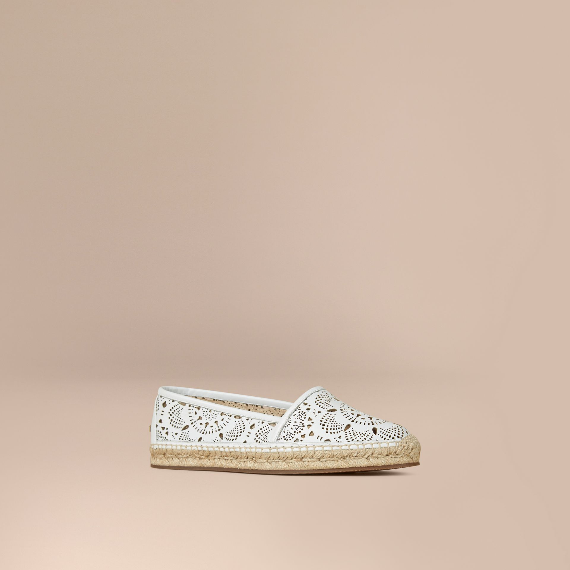 Optic white Laser-cut Lambskin Espadrilles Optic White - gallery image 1