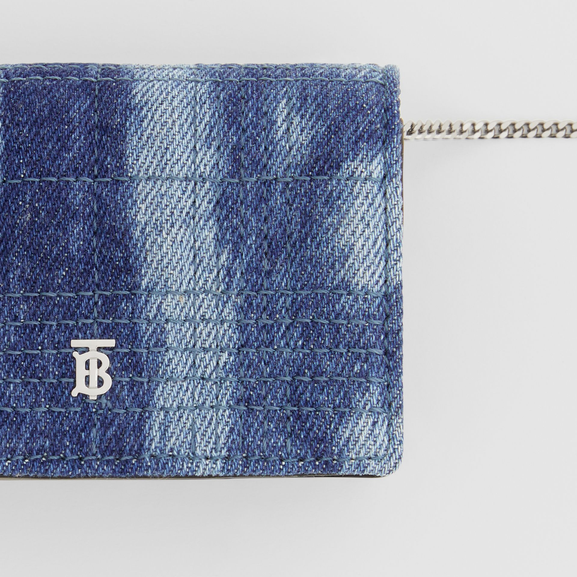 Quilted Denim Card Case with Detachable Strap in Blue | Burberry United States - gallery image 1