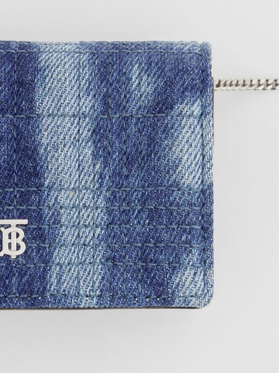Quilted Denim Card Case with Detachable Strap in Blue | Burberry United States - cell image 1