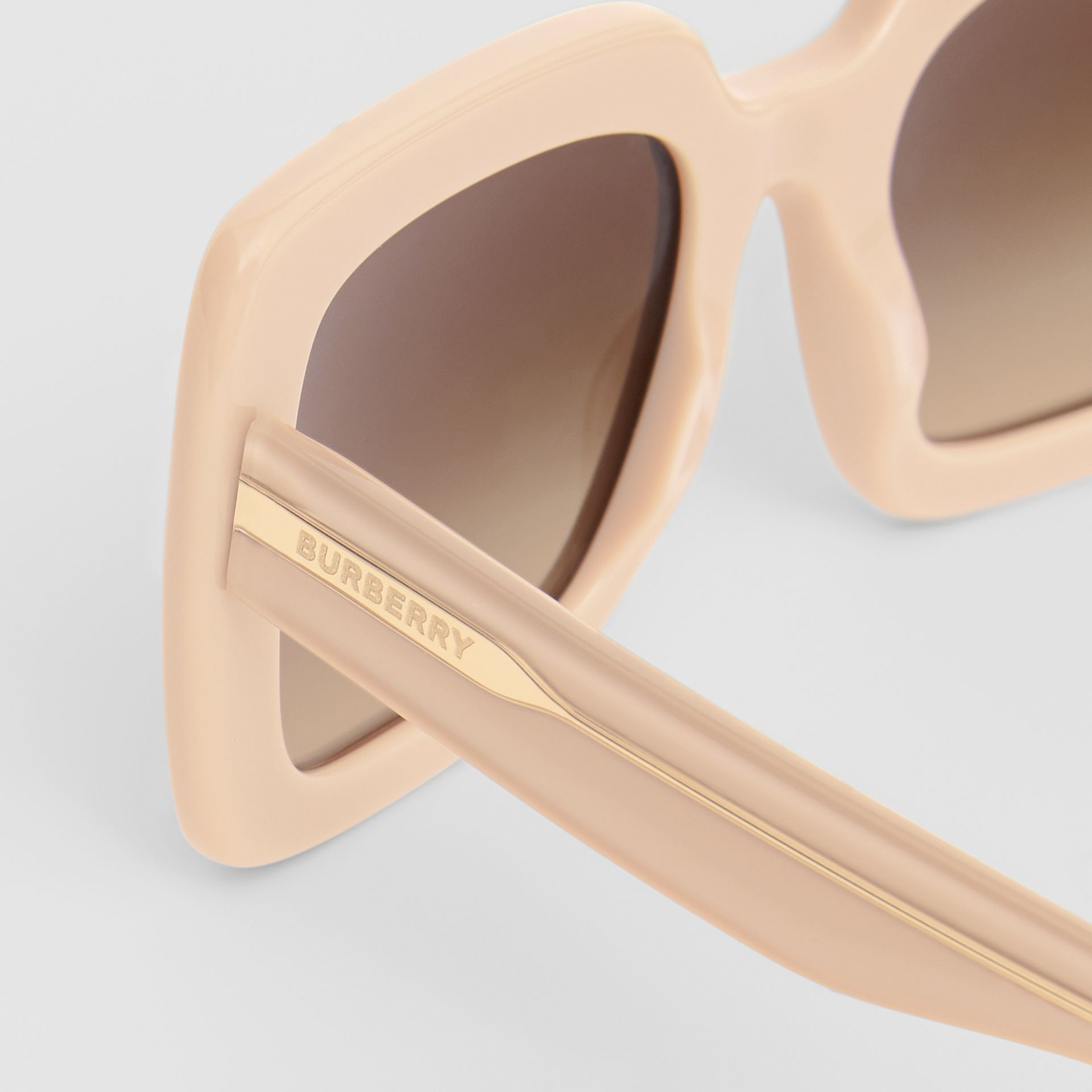 Oversized Square Frame Sunglasses in Honey - Women | Burberry - gallery image 1