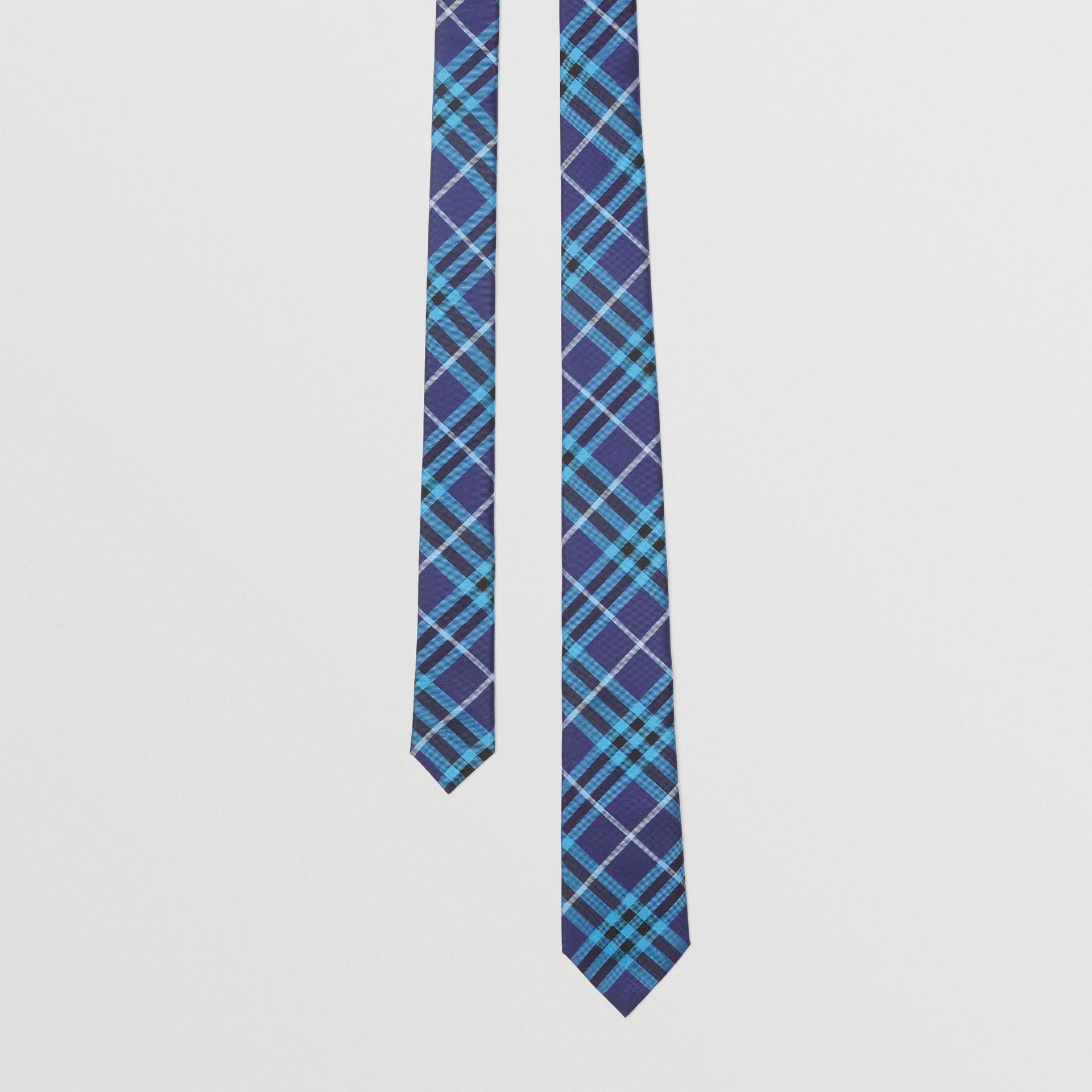 Slim Cut Check Silk Tie in Bright Navy - Men | Burberry - gallery image 0