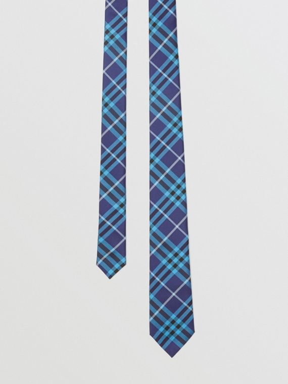 Slim Cut Check Silk Tie in Bright Navy