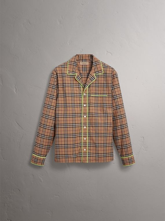 Contrast Piping Check Cotton Pyjama-style Shirt in Camel - Men | Burberry United States - cell image 3