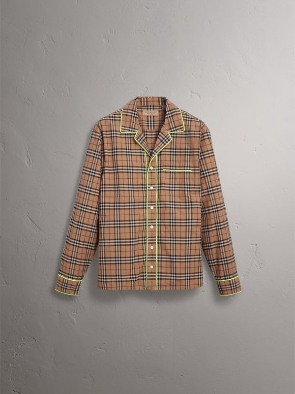 Contrast Piping Check Cotton Pyjama-style Shirt in Camel | Burberry - cell image 3