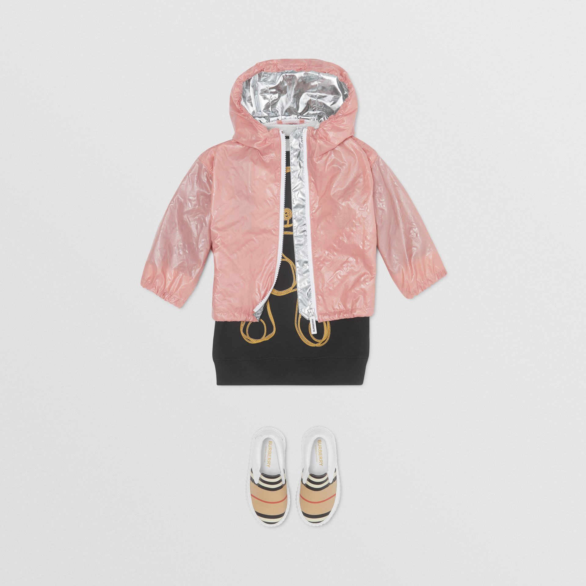 Logo Print Lightweight Hooded Jacket in Dusty Pink - Children | Burberry United States - gallery image 2