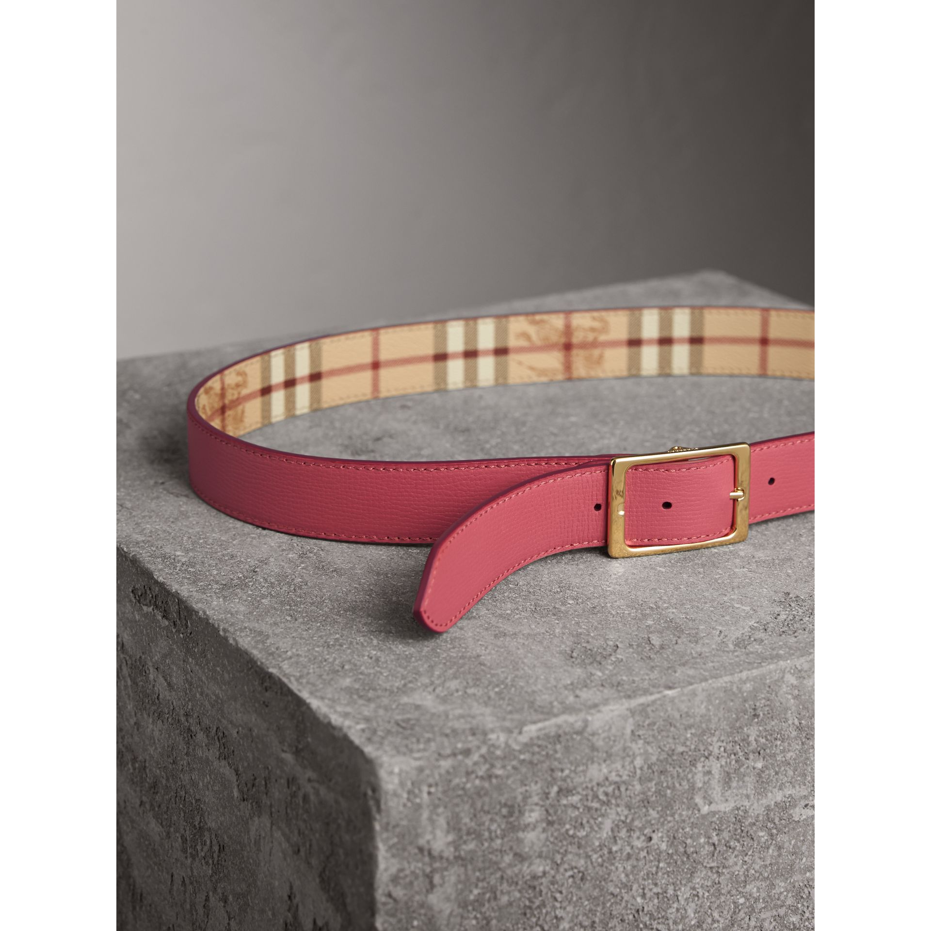 Riveted Reversible Check and Leather Belt in Plum Pink - Women | Burberry - gallery image 6