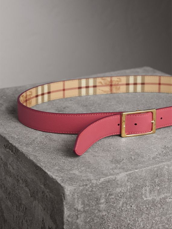Riveted Reversible Check and Leather Belt in Plum Pink - Women | Burberry - cell image 3