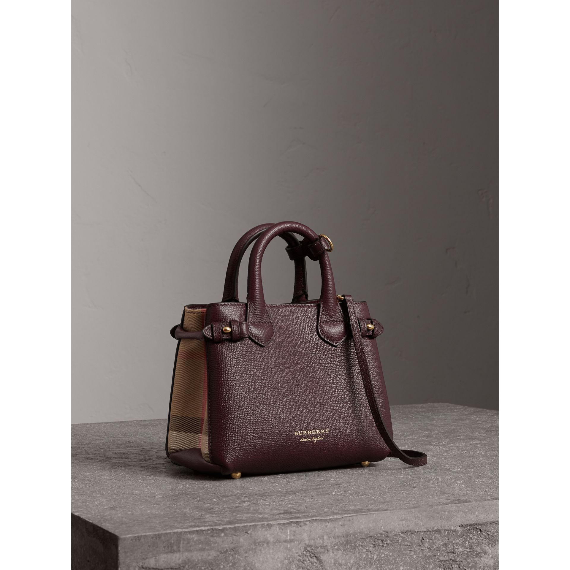 The Baby Banner in Leather and House Check in Mahogany Red - Women | Burberry - gallery image 0