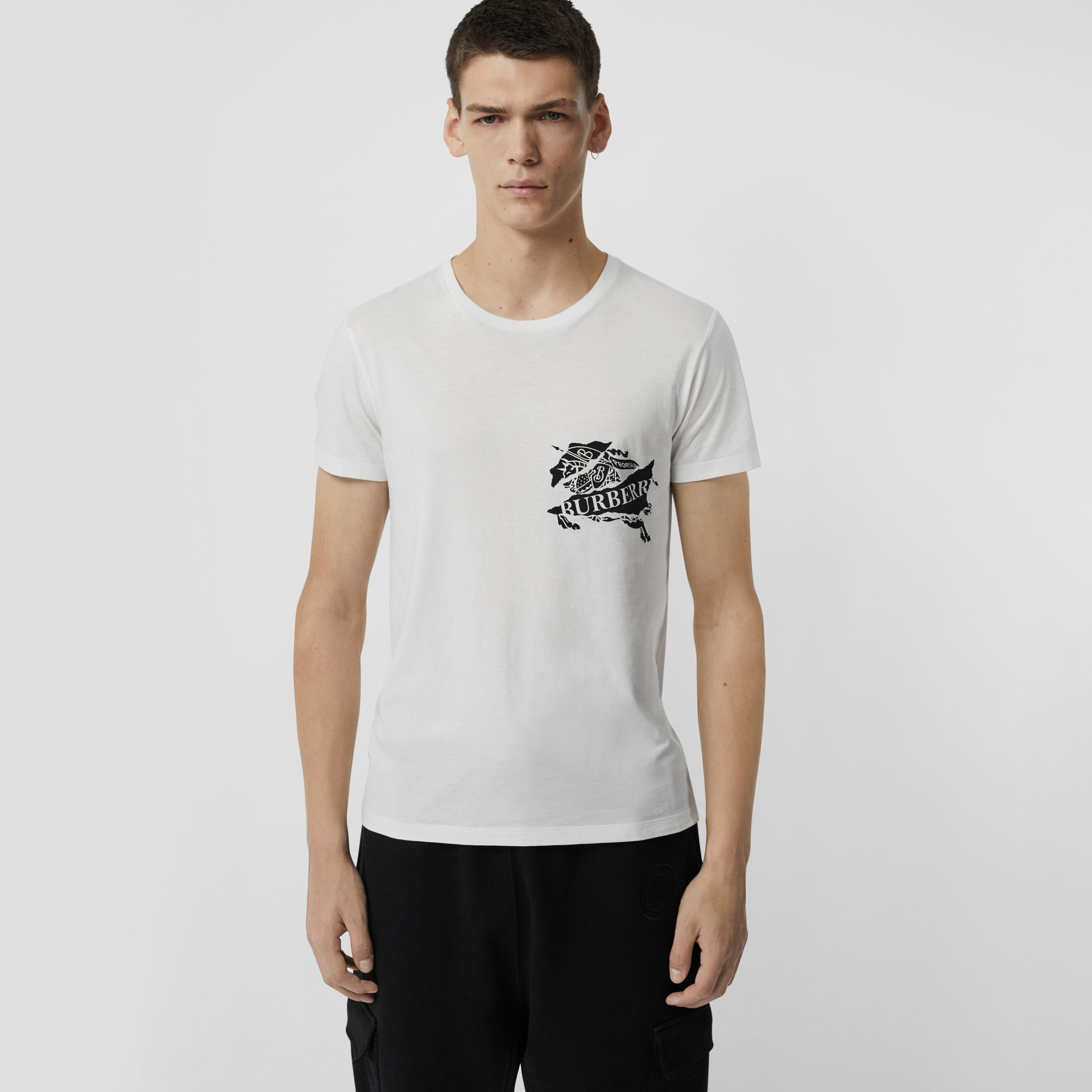 Collage Logo Print Cotton T-shirt in White - Men | Burberry - gallery image 0