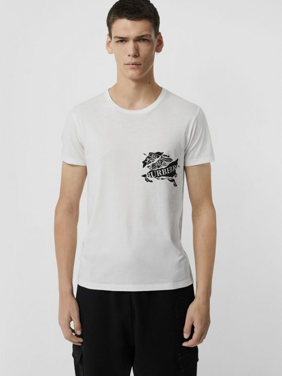 Collage Logo Print Cotton T-shirt in White