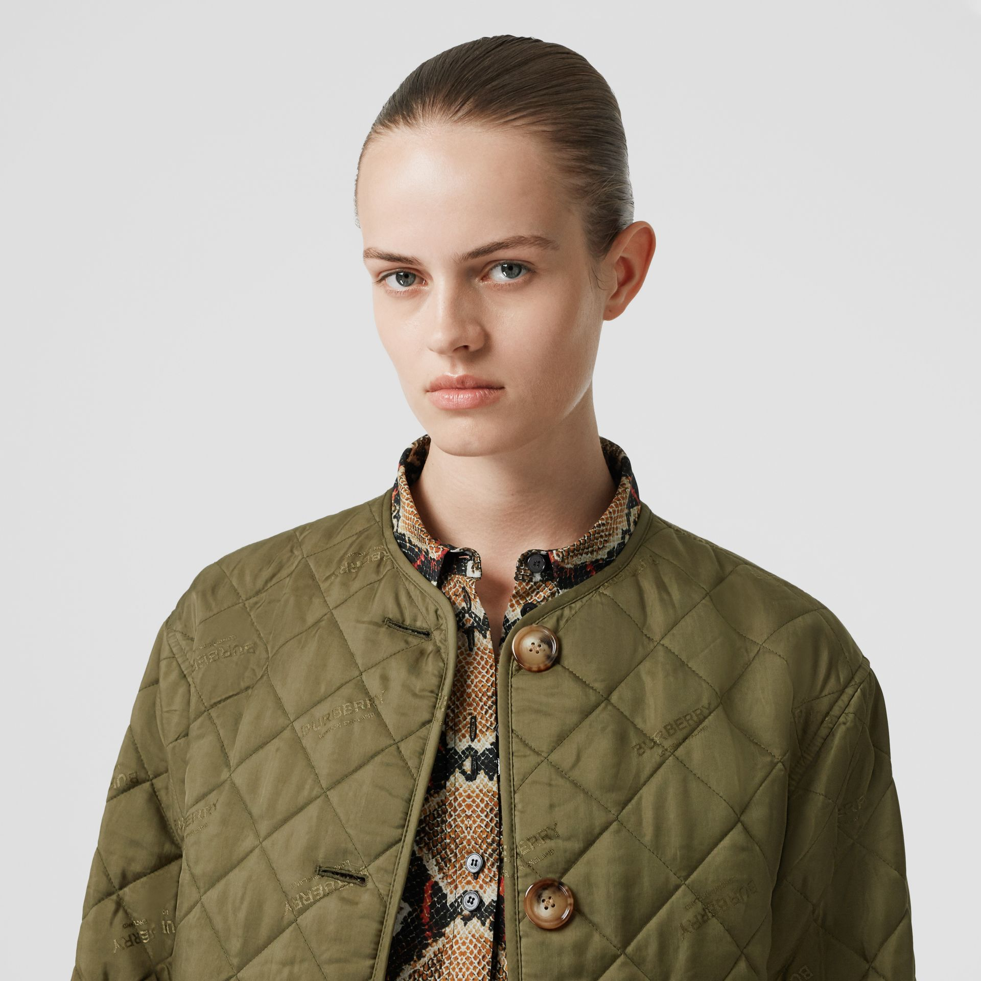 Logo Jacquard Diamond Quilted Jacket in Olive - Women | Burberry - gallery image 1