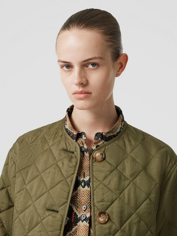 Logo Jacquard Diamond Quilted Jacket in Olive - Women | Burberry Canada - cell image 1