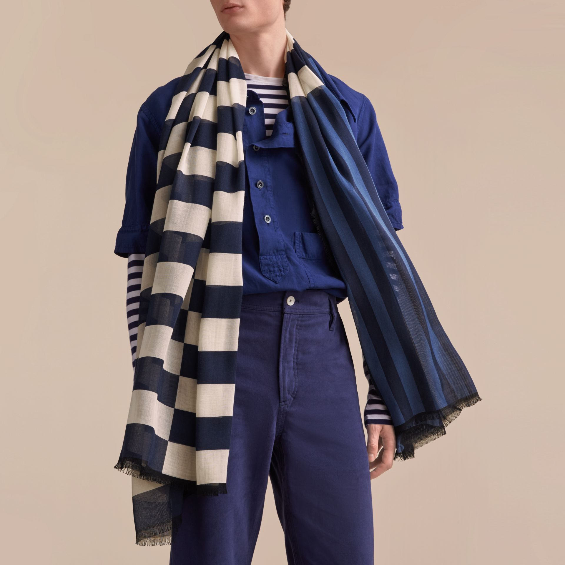 Contrast Stripe Cashmere Silk Scarf in Indigo | Burberry - gallery image 4