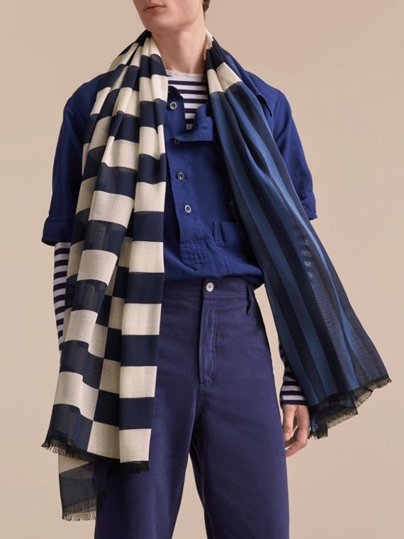 Contrast Stripe Cashmere Silk Scarf in Indigo | Burberry - cell image 3