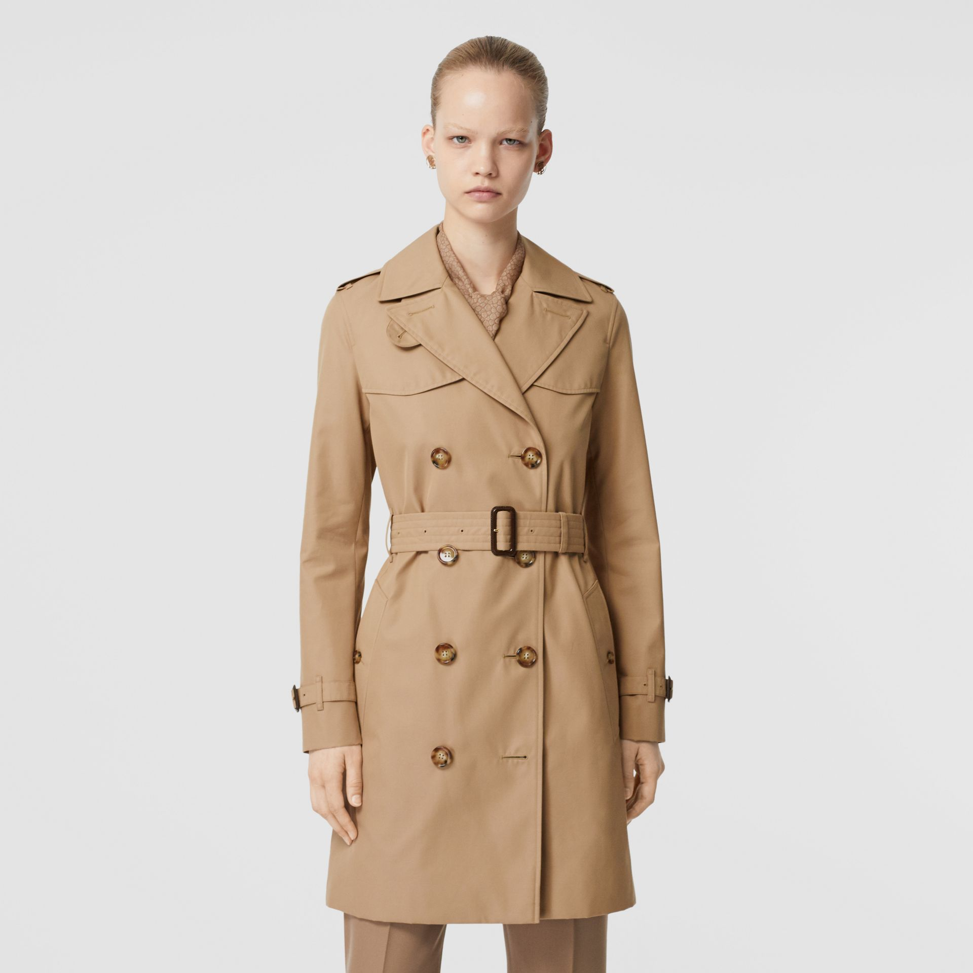 Cotton Gabardine Trench Coat in Biscuit - Women | Burberry - gallery image 6