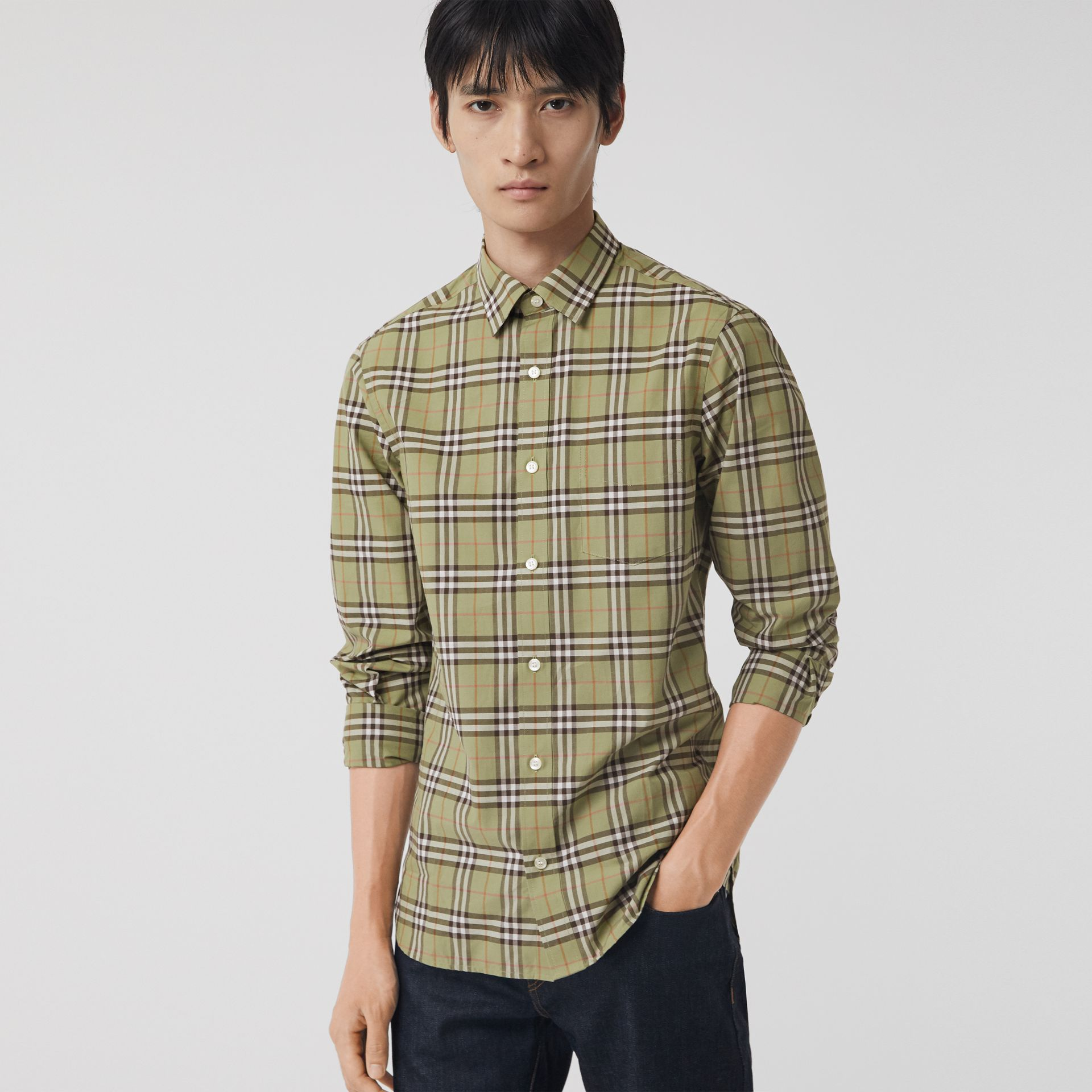 Check Cotton Shirt in Pale Powdr Green - Men | Burberry - gallery image 0