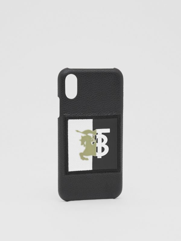 Contrast Logo Graphic Leather iPhone X/XS Case in Black | Burberry - cell image 2