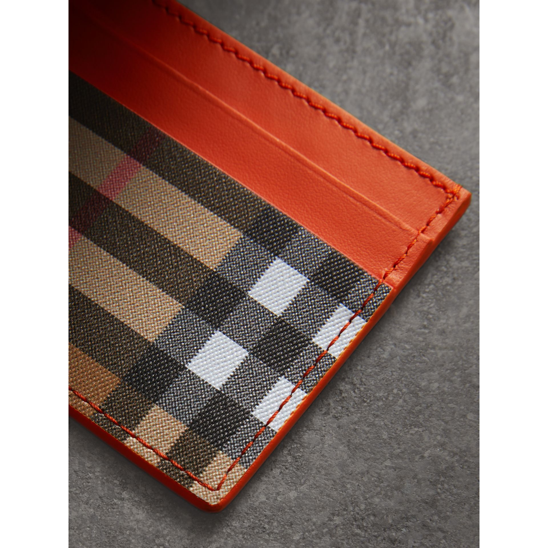 Vintage Check and Leather Card Case in Clementine - Women | Burberry Hong Kong - gallery image 1