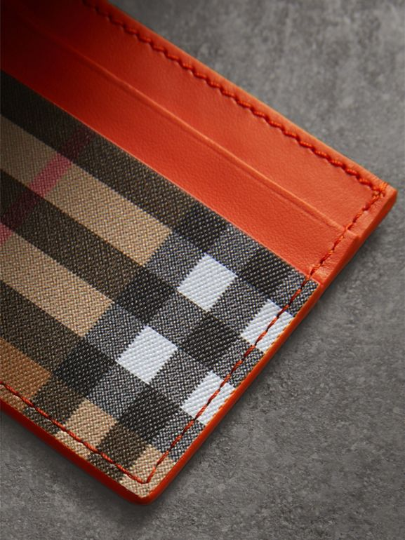 Vintage Check and Leather Card Case in Clementine - Women | Burberry - cell image 1