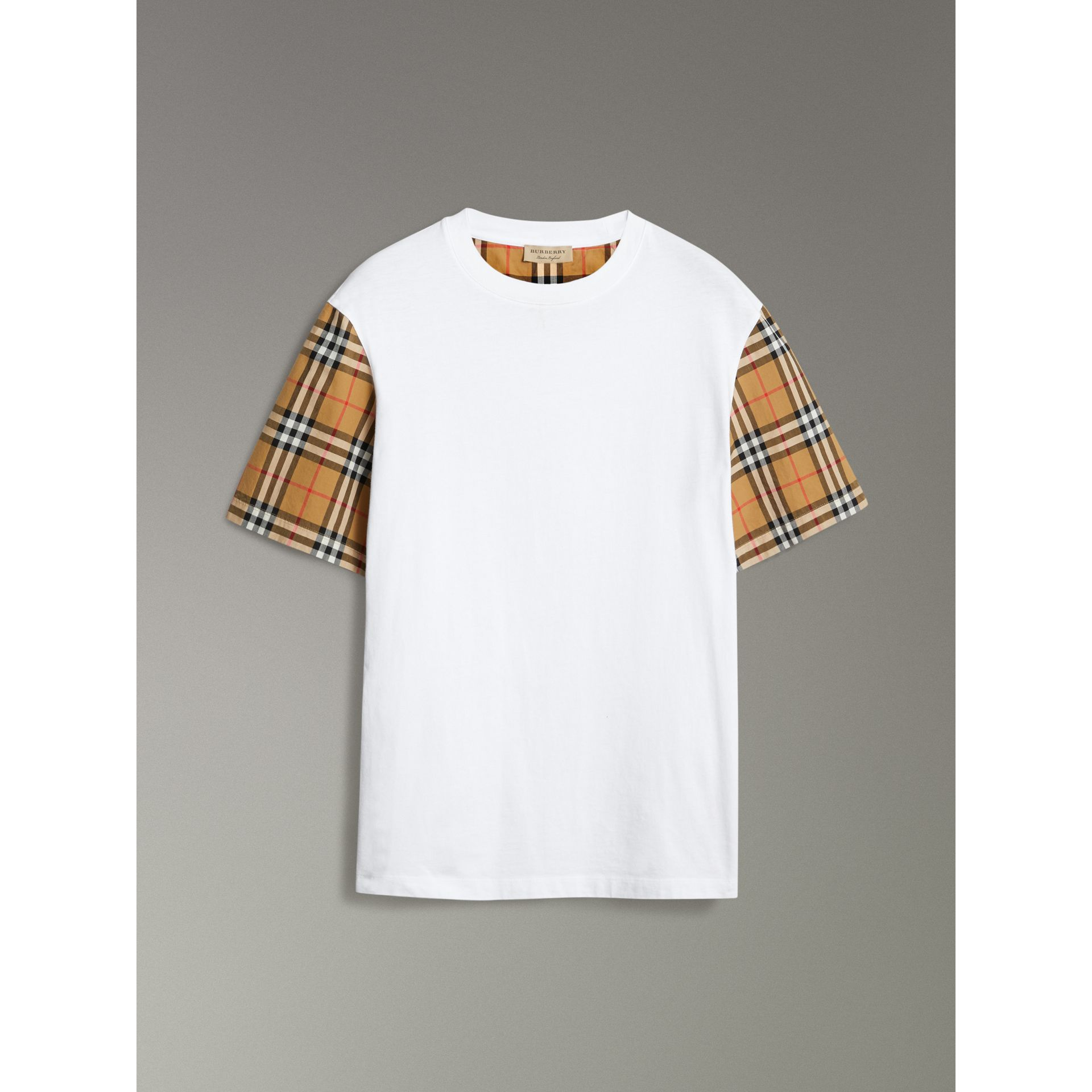 Vintage Check Sleeve Cotton T-shirt in White - Women | Burberry United Kingdom - gallery image 3