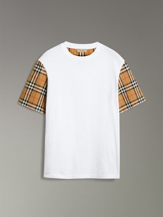 T-shirt in cotone con maniche in Vintage check (Bianco) - Donna | Burberry - cell image 3